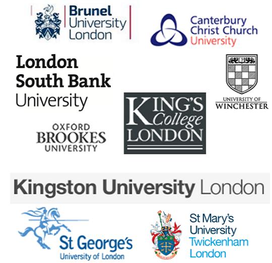 Logos for the participating universities, (Brunel University, Canterbury Christ Church University, St Mary's University Twickenham London,